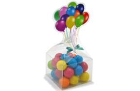PLASTIC CLEAR GIFT BOXES BALLONS 5,5x5,5x4,5cm SET/50